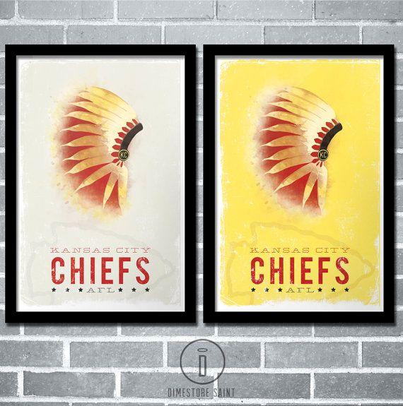 Kansas City Chiefs Headdress Art Print KC Chiefs Vintage ...