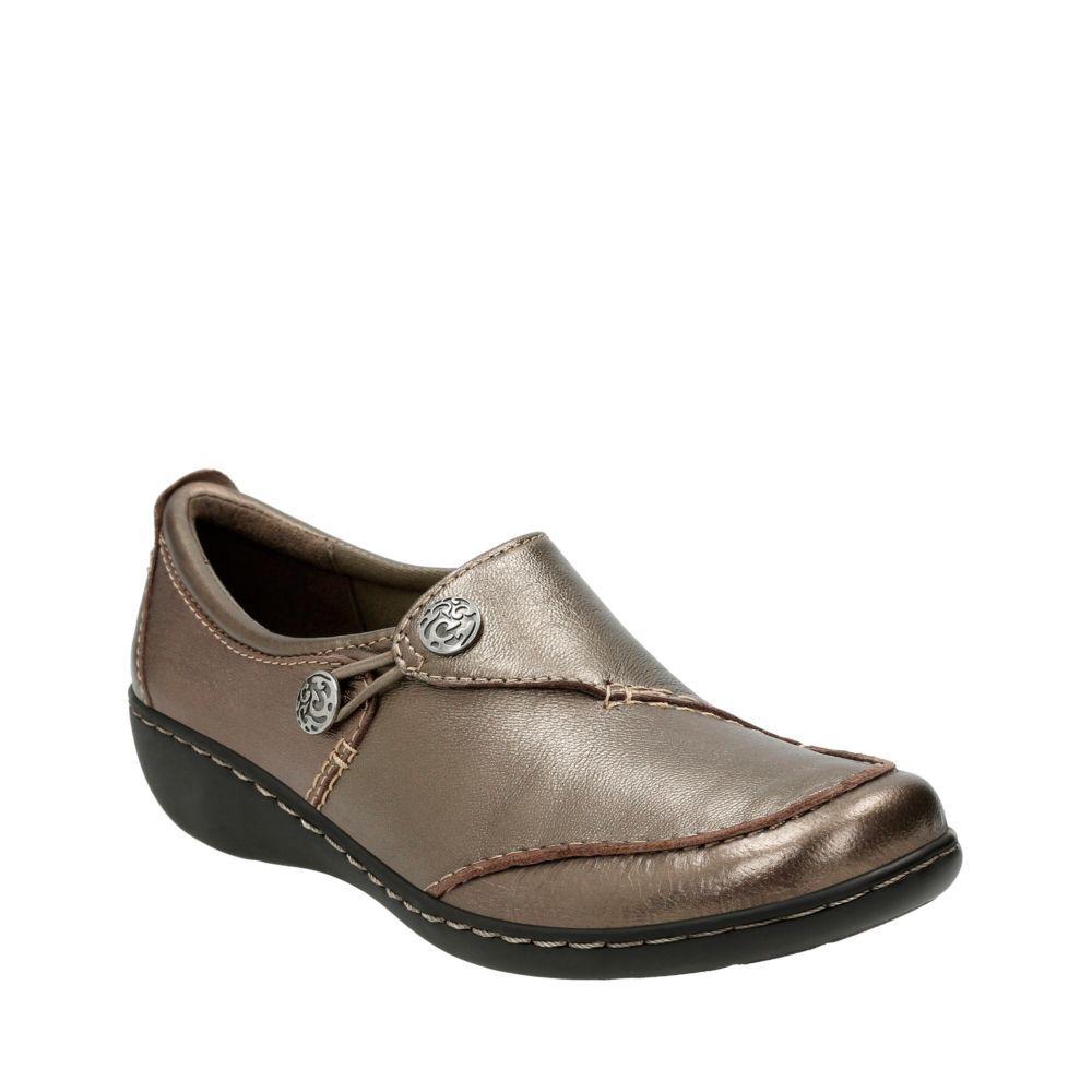Ashland Lane Q Pewter Leather womens comfort shoes   Clarks