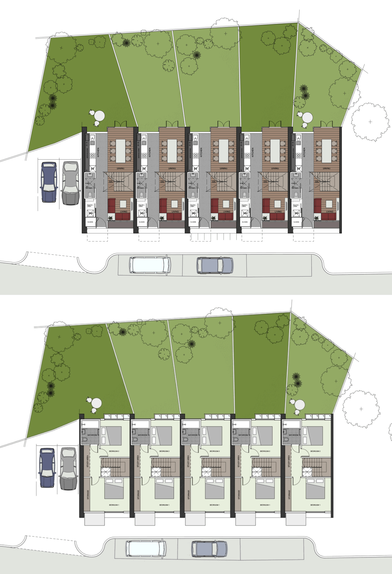 Sixtyk sheppard robson terraced house floor plans large for Small house design with terrace