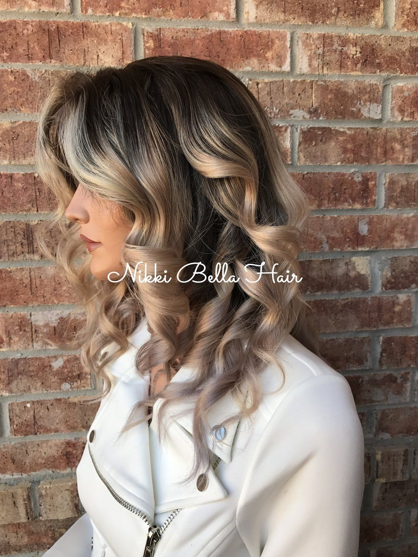 Ash Blonde Balayage Ombré Human Hair Multi Parting Full Lace Wig #naturalashblonde