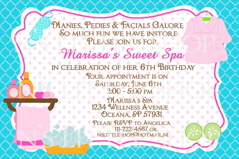 unique spa party invitations  spa party birthday