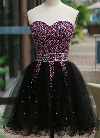 a511a73aca6 Handmade Sequins Beaded Sweetheart A-Line Tulle Sexy Short Prom Dresses  2015