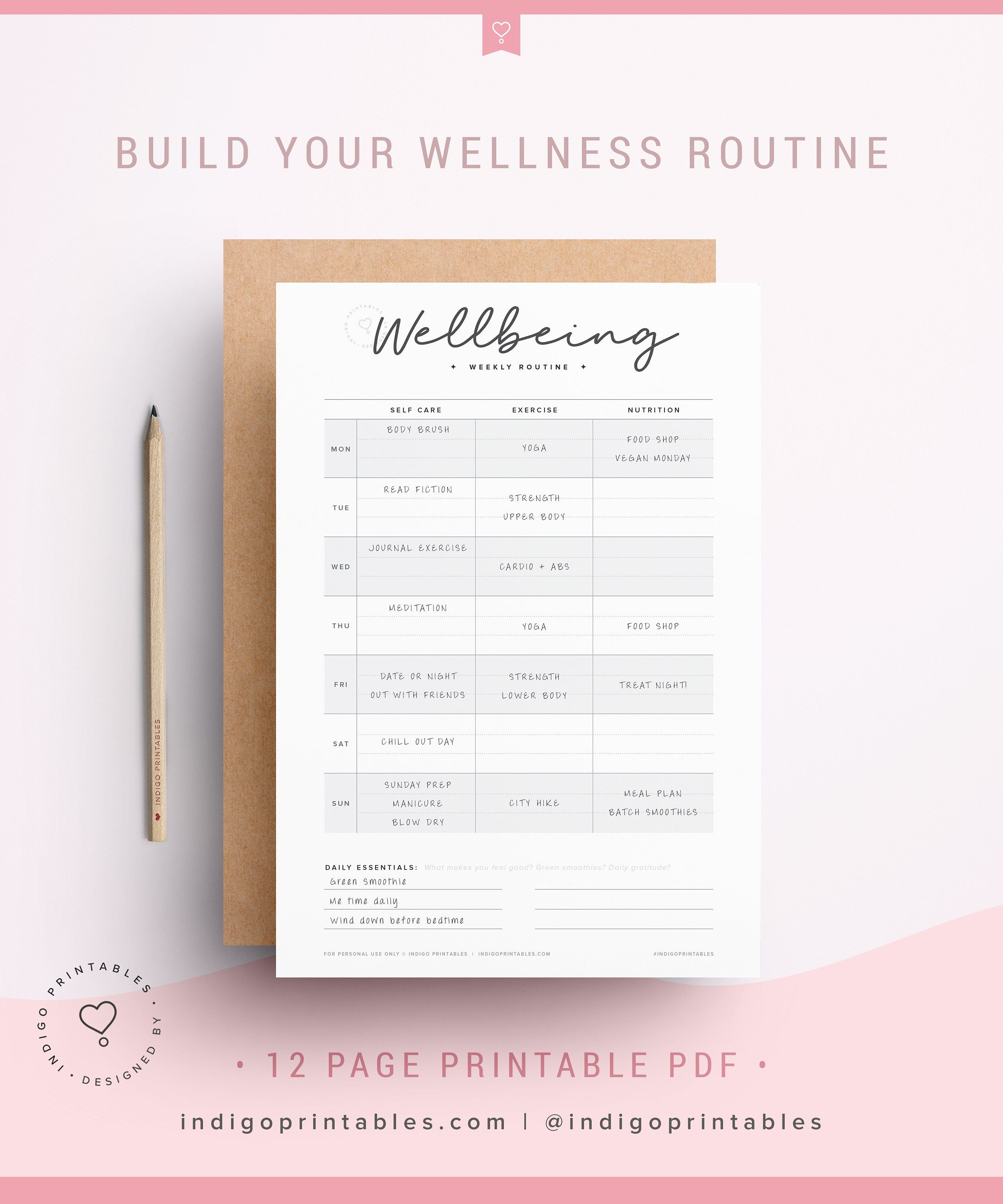 Wellness Planner Self Care Planner Wellbeing Planner