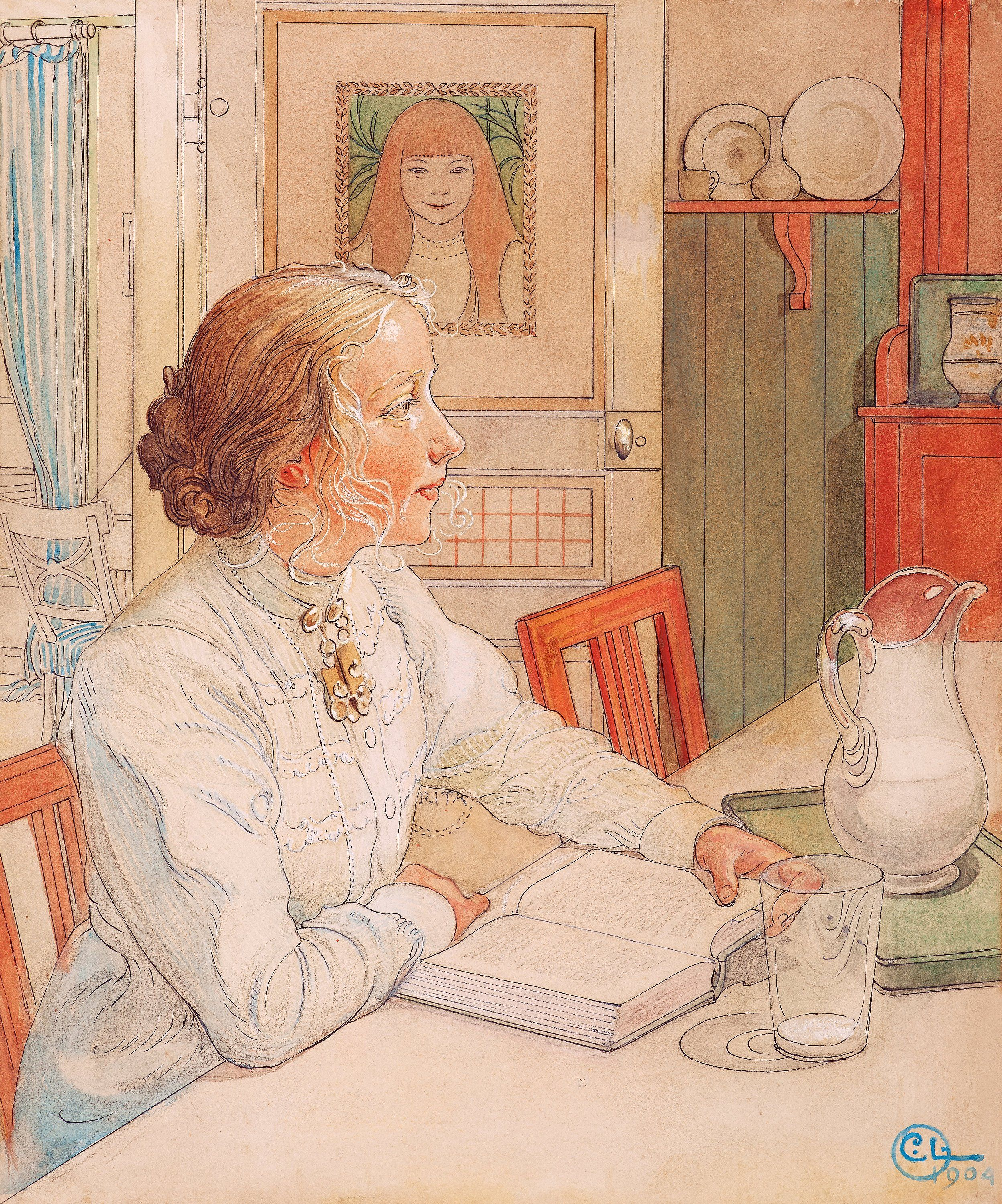 "CARL LARSSON - ""My Elder Daughter"" / ""Suzanne with Milk and Book,"" 1904. Watercolor 46.5 x 39 cm. Original frame. Letter from artist to original buyer included. The motif performed as etching, ""Suzanne at the Book"", in 1912 (AR No. 89, H & H nr 94, Neergaard, NR 1495)."
