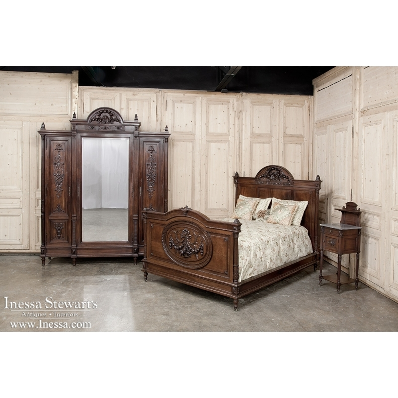 19th Century French Neoclassical Mahogany Queen Size Bed