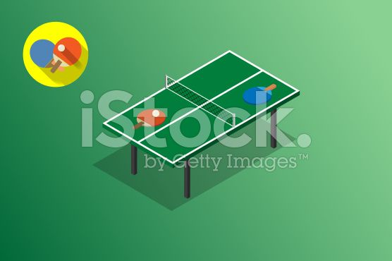 Ping Pong Green Table Tennis Vector Illustration Isometric With Flat Isometric Table Tennis Green Table