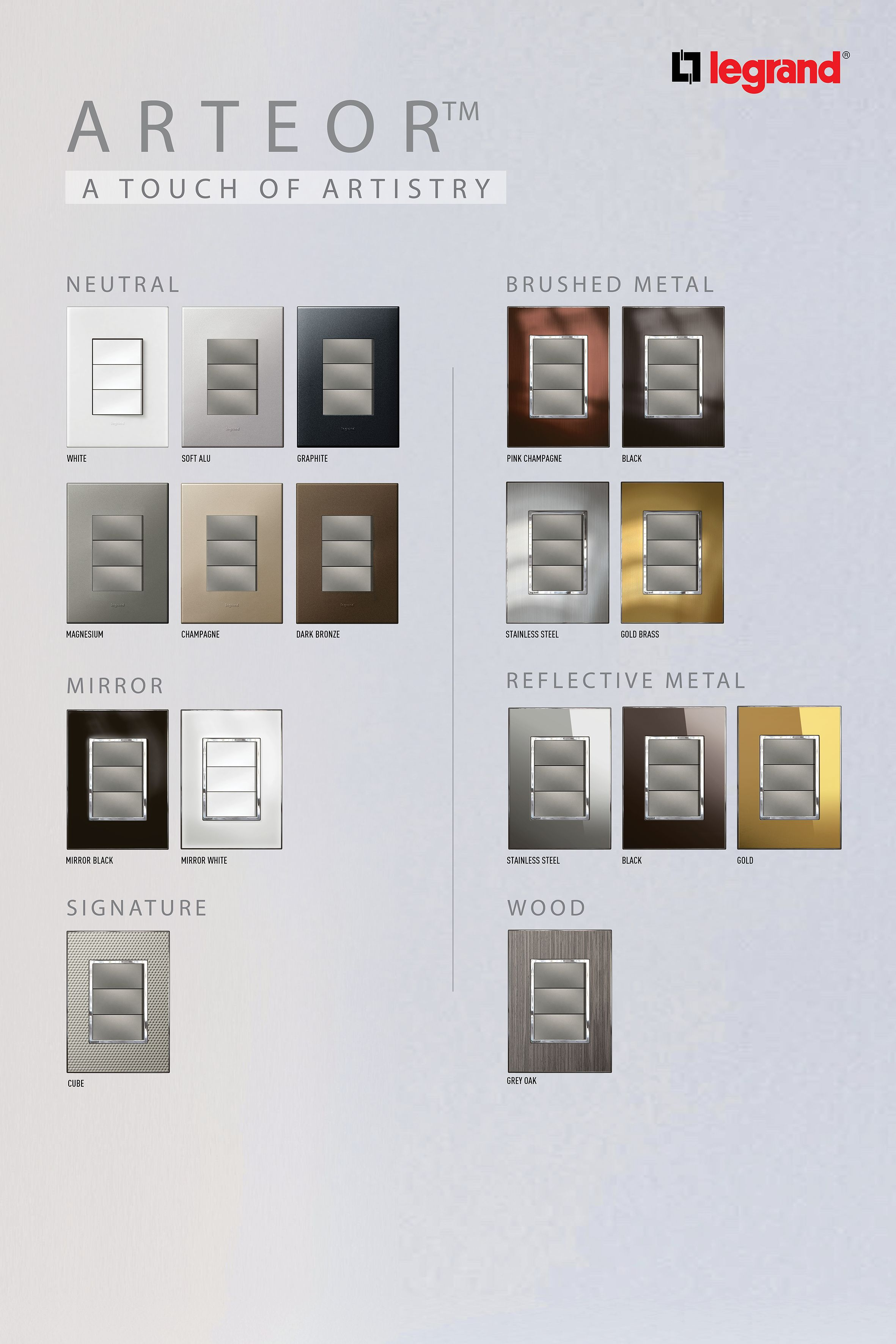 Arteor Switches And Sockets Metal Mirror Switches Gold Wood
