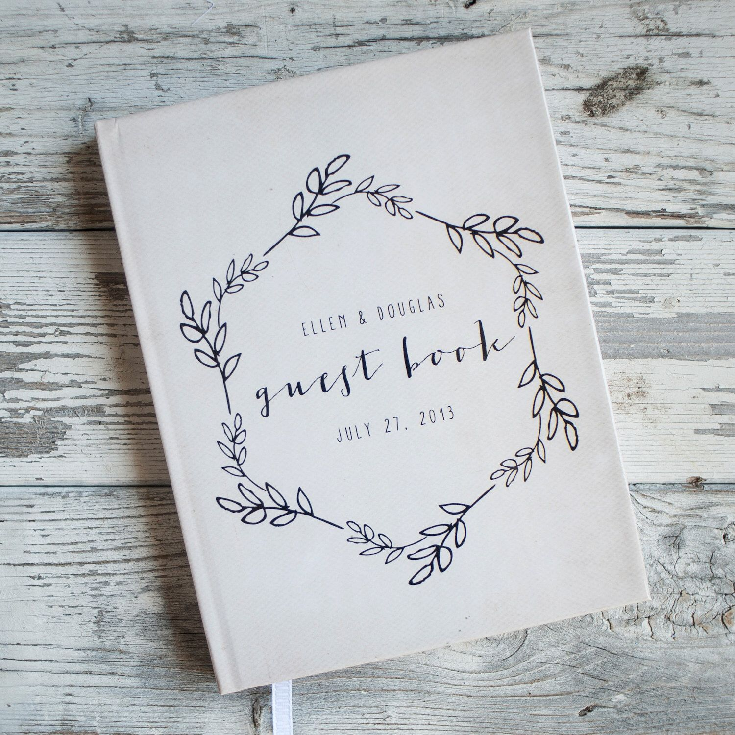 Wedding Guest Book Guestbook Custom Personalized Customized Design Gift Keepsake Rustic Wreath By Starboardpress On