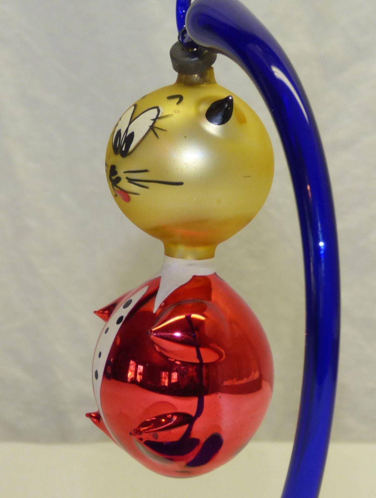 Glass cat ornaments - Vintage Old Italian Blown Glass Cat Christmas Tree Ornament Red Gold Italy Ebay