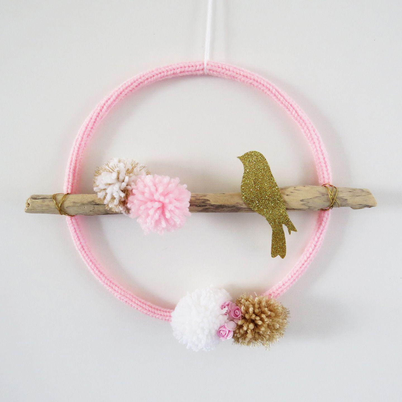 attrape rêve BIRD oiseau bois flotté rose blanc doré chambre fille ...