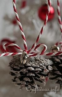 Christmas pine cone with red and withe wire
