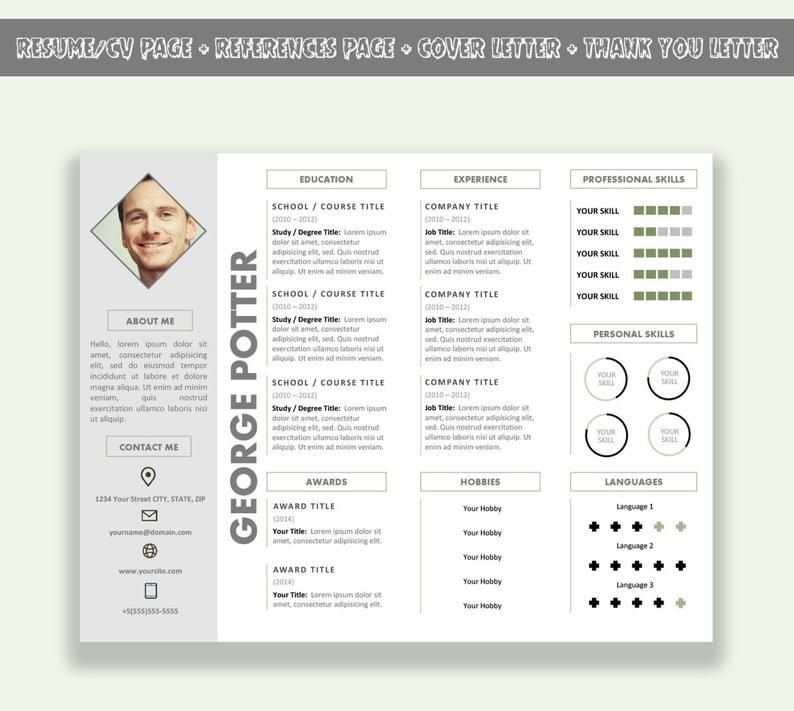 Microsoft Word Horizontal Resume Template Cv Template Pack Cover Letter Thank You Letter References Page In 2021 Cv Template Creative Resume Templates Resume Template