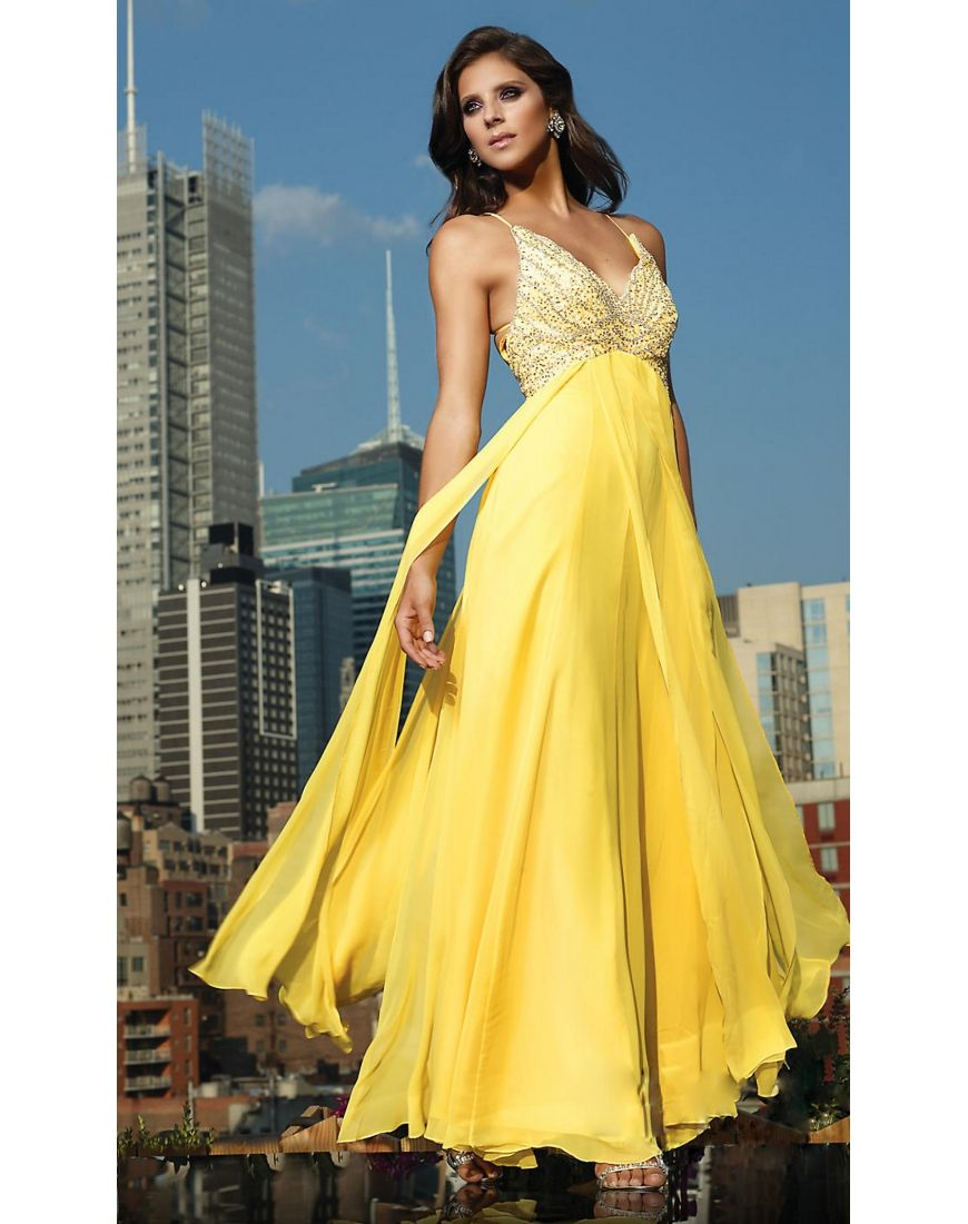 Chiffon sweetheart strap yellow aline prom dress chiffon womenus