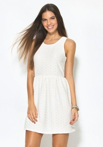 Krátke šaty bez rukávov #ModinoCZ #basic #dress #style #summer #léto #white #whitedress