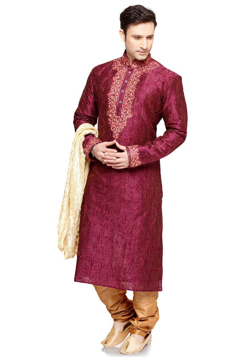 073a9a343c Buy Magenta Art Silk Readymade Kurta with Churidar online