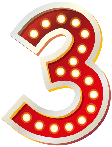 Red Number Three With Lights Png Clip Art Image Clip Art Art Images Free Clip Art