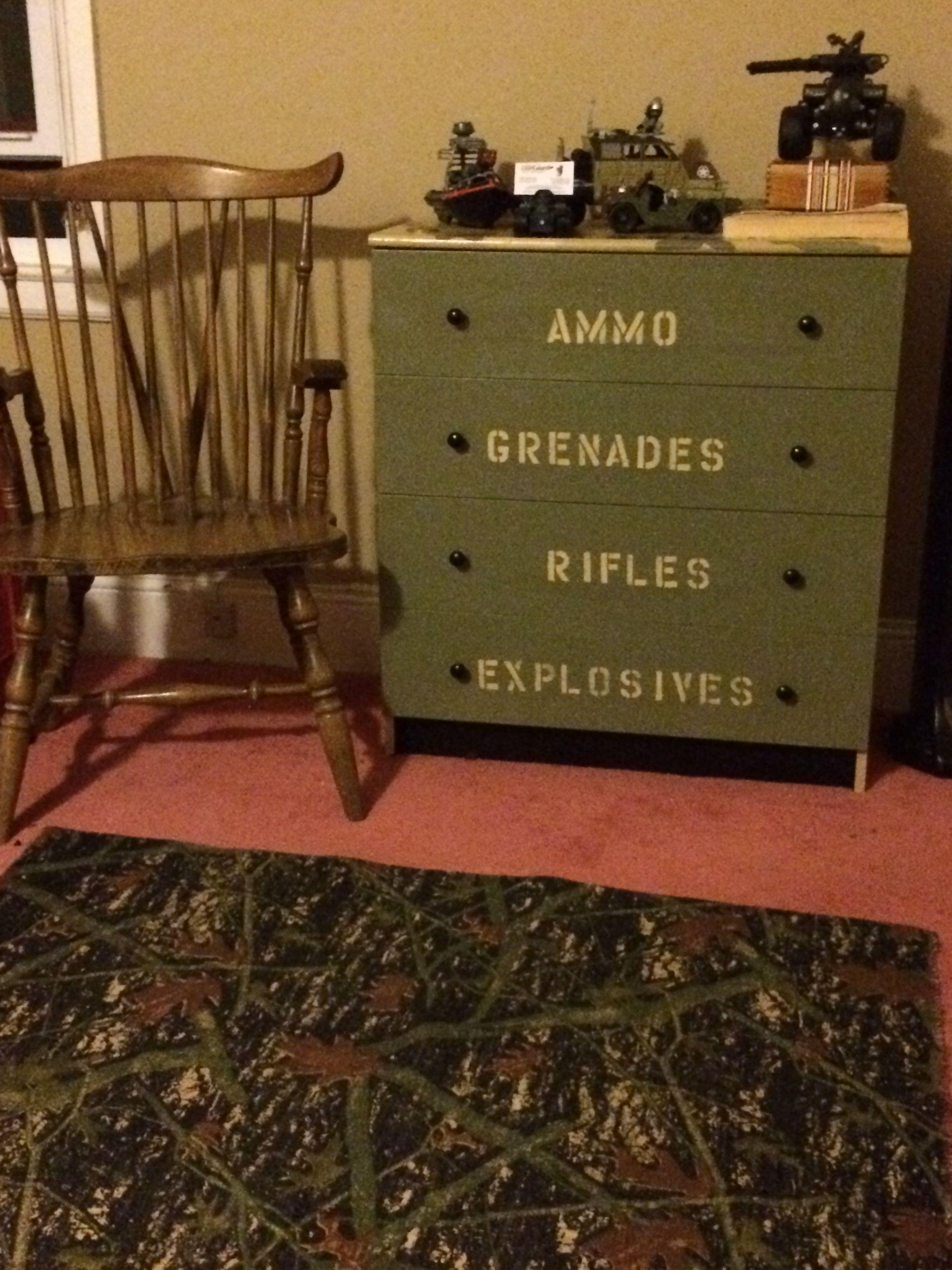 Boys camouflage bedroom dresser second grace vintage for Camouflage boys bedroom ideas