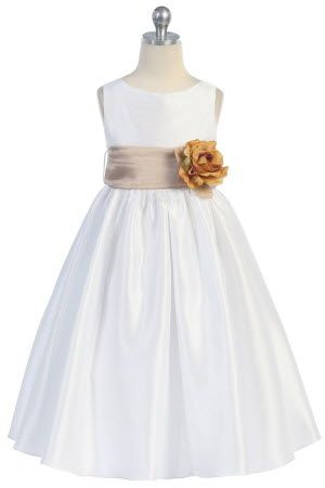 6d284c4e067 Taupe Flowers and Sash Flower Girl Dress (Ivory dress with taupe sash)