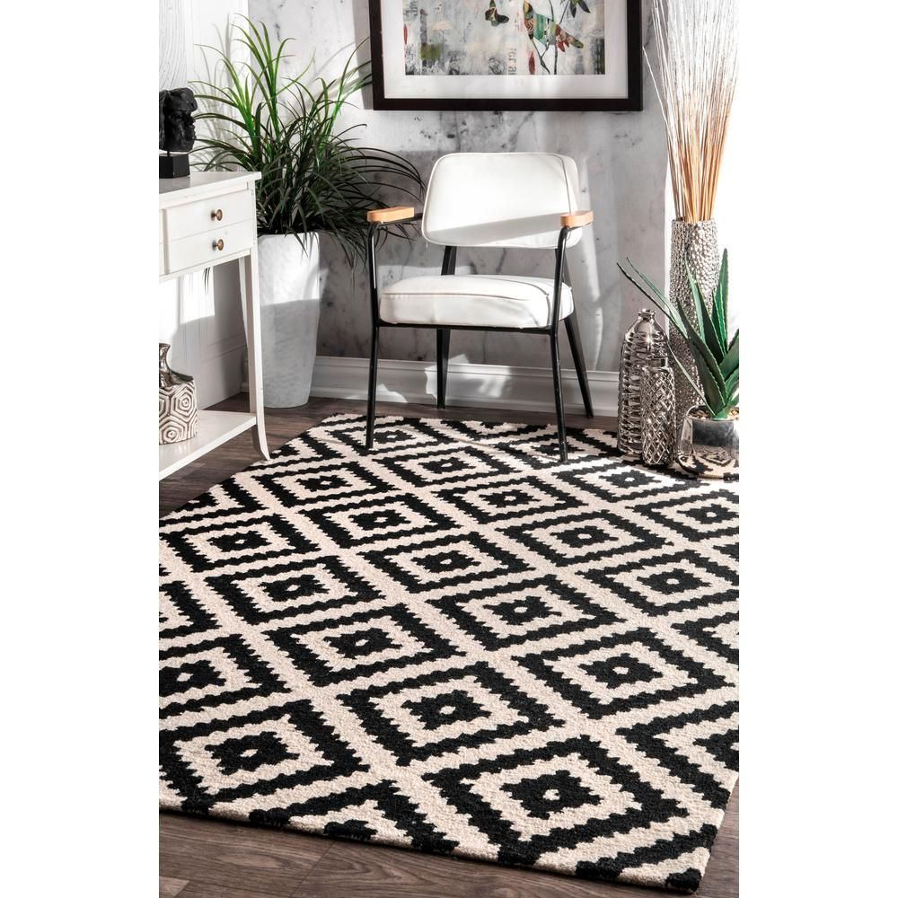 Nuloom Kellee Contemporary Black 9 Ft X 12 Ft Area Rug Mtvs174a 9012 The Home Depot White Rug Living Room Black And White Carpet Area Rugs