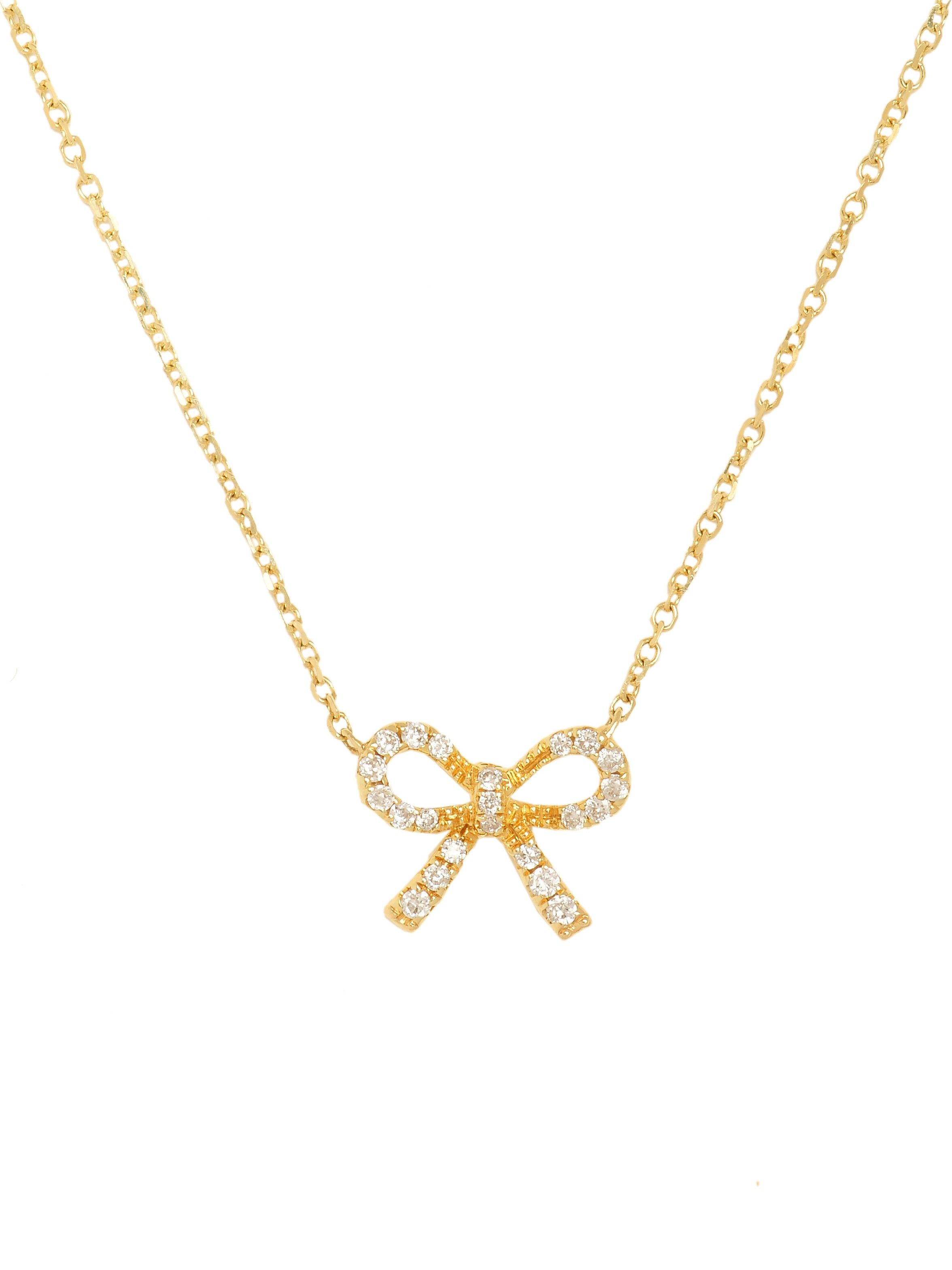 on ribbon original luulla necklace gold bow product