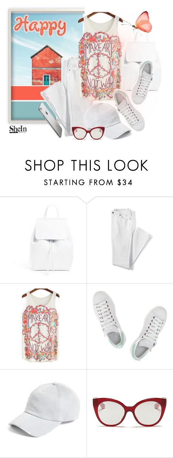 """happy"" by sandevapetq ❤ liked on Polyvore featuring Mansur Gavriel, Lands' End, adidas, rag & bone and Miu Miu"