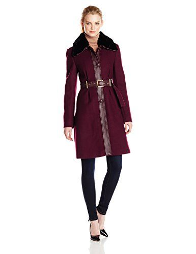 Badgley Mischka Women's Rosalie Belted Wool Coat with Leather Trim ...