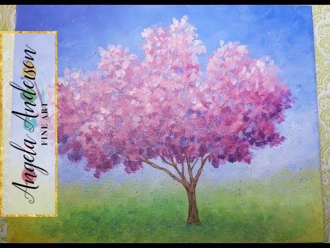 Easy impressionist cherry blossom tree live full acrylic painting lesson coloroftheyearart youtube