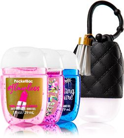 Glam Squad 3 Pack Pocketbac Holder Soap Sanitizer Bath