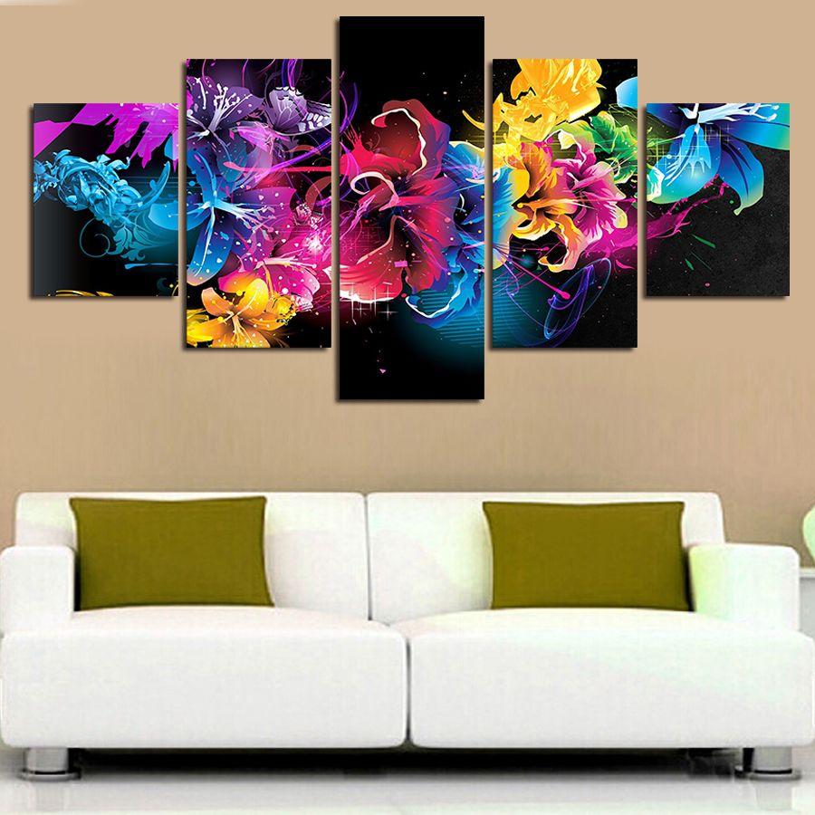 Aliexpress Com Comprar 5 Unids Lienzo Pintura De Pared Cuadros Para La Sala De Estar Grand Cuadros Tripticos Modernos Pinturas De Pared Arte Abstracto Pintura