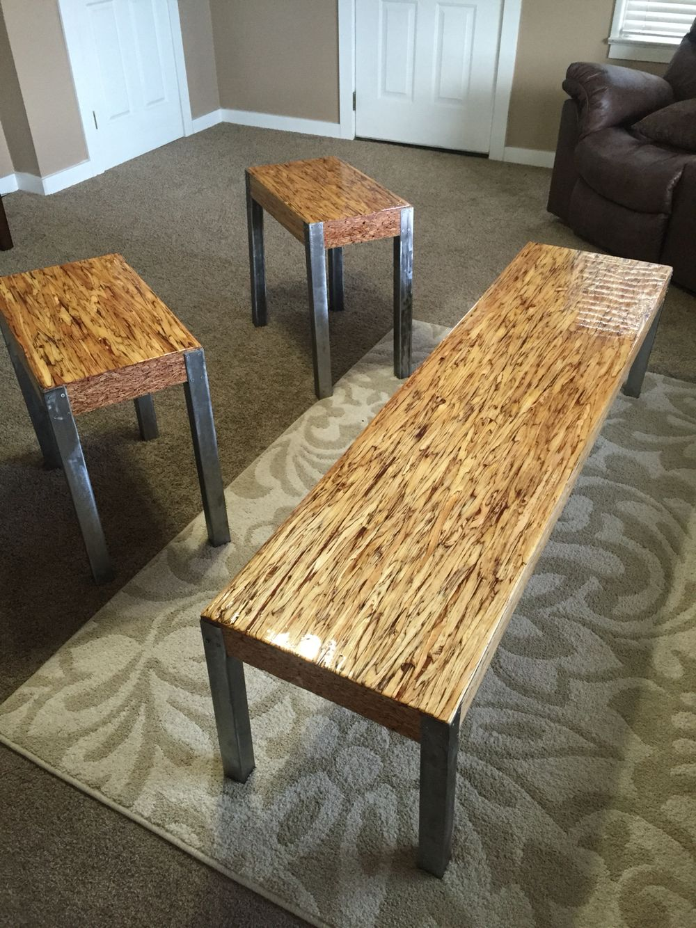 Parallam Psl Tables W Liquid Glass Top Coat Wood