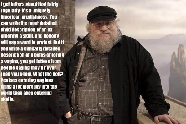 #GameOfThrones author George RR Martin on sex vs violence.