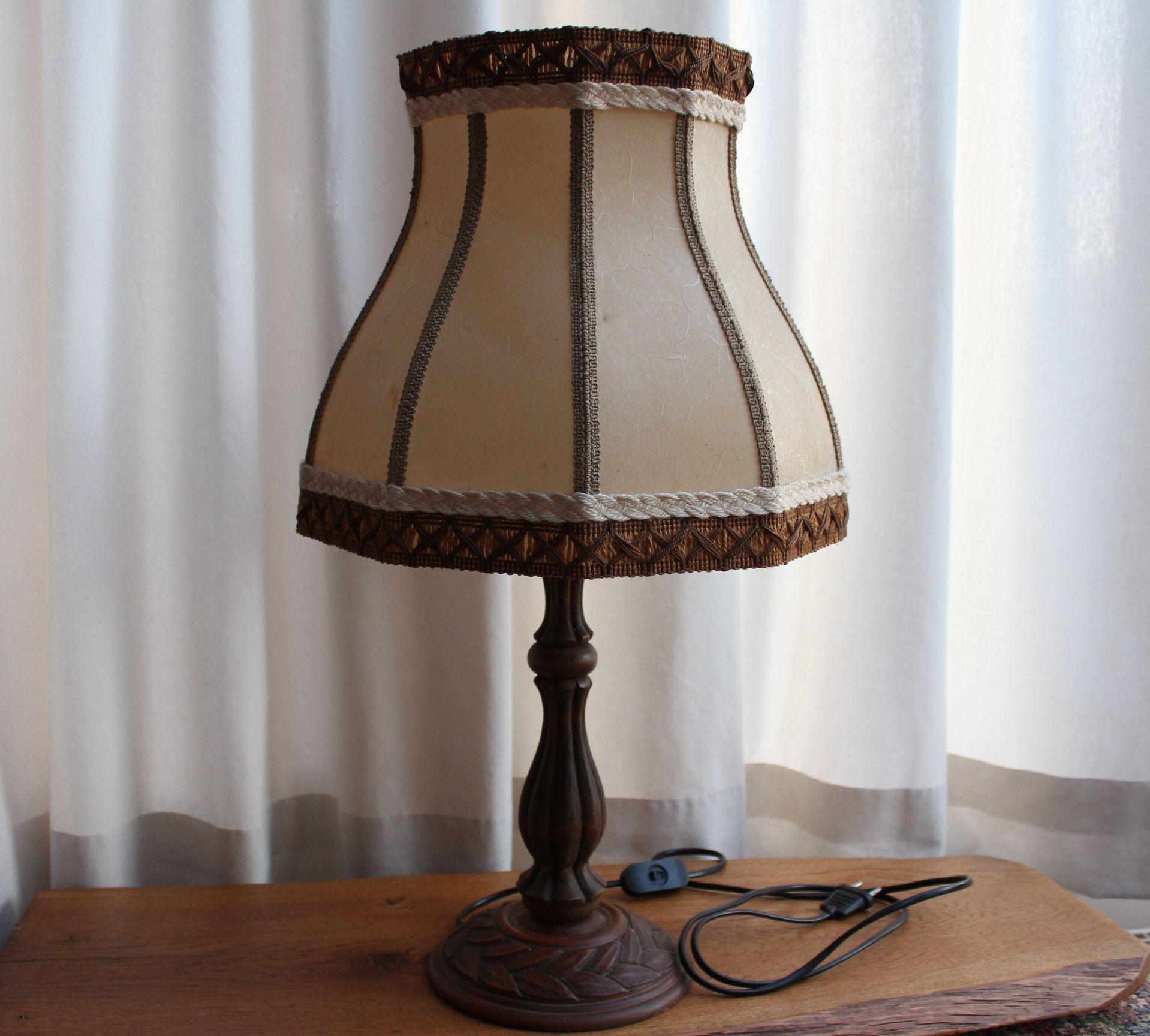 Tischlampe Mit Holzfuss Vintage Tischleuchte Mit Schirm Von Helge