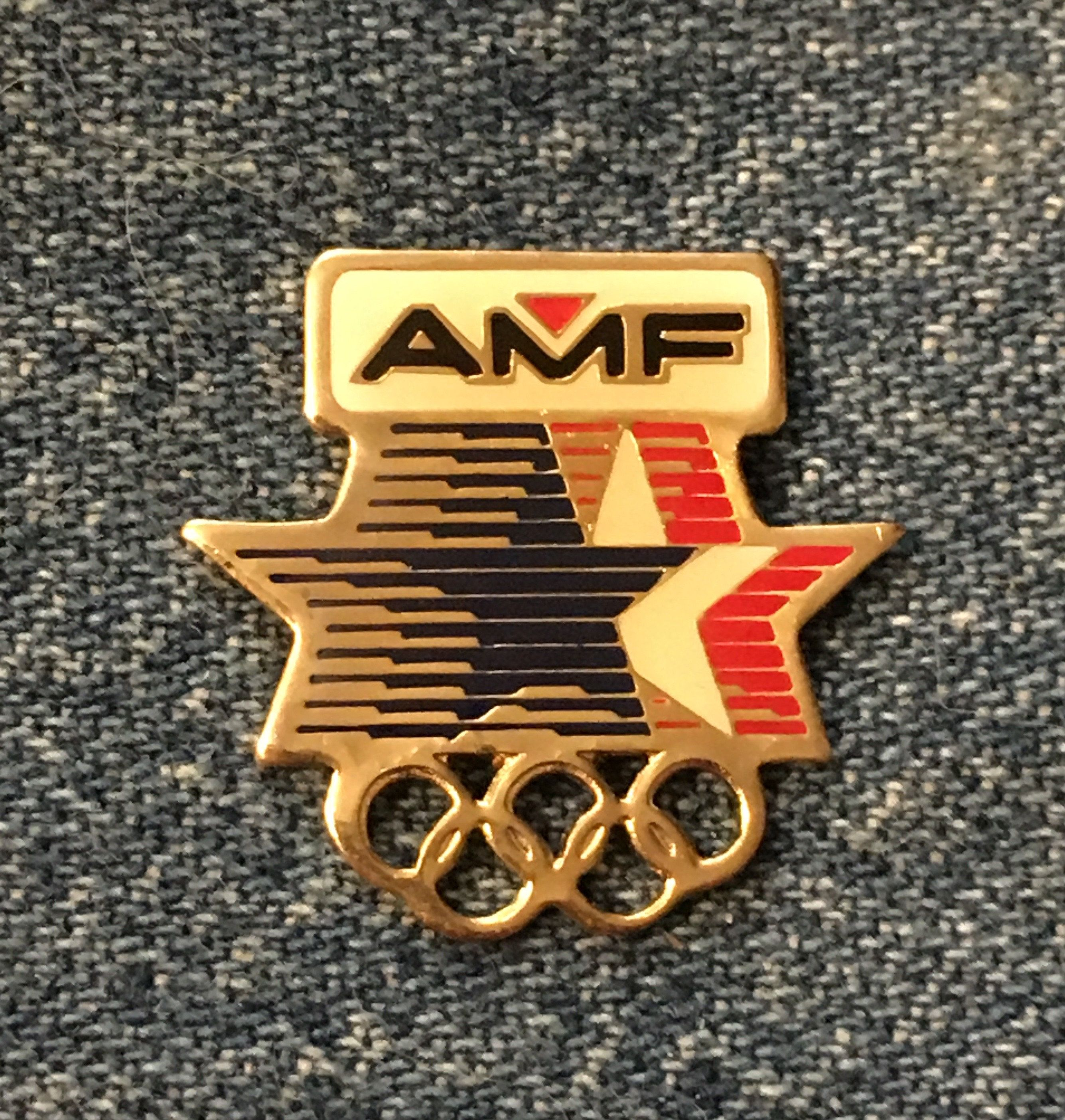 Amf Olympic Sponsor Pin 1984 Los Angeles With Stars In Motion