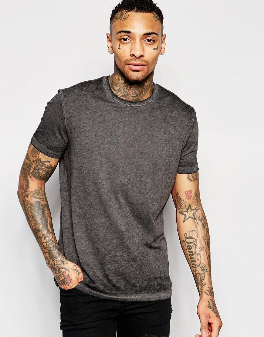 Image 1 of ASOS T-Shirt With Burn Out Wash In Green