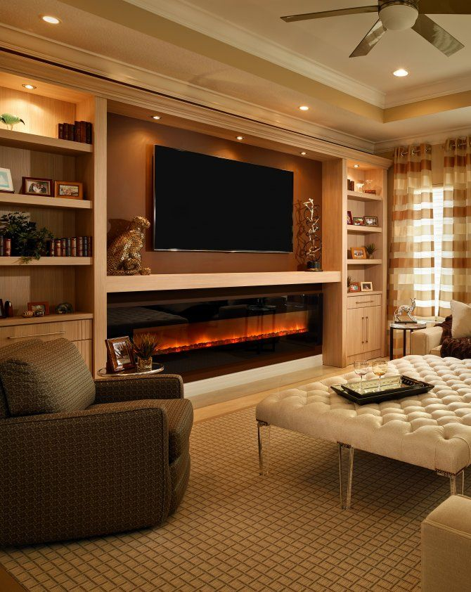 Glowing Electric Fireplace with Wood Hearth and Mantel