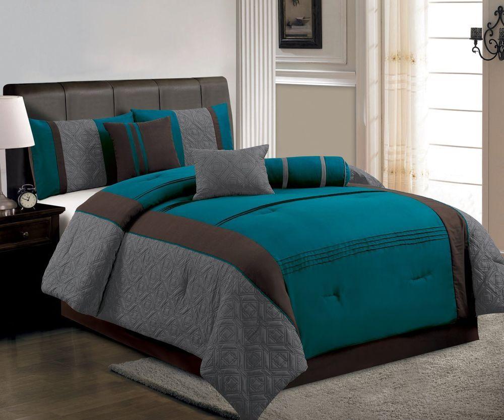 7 Pcs Modern Stitched Comforter Set Bed In A Bag King Blue ...