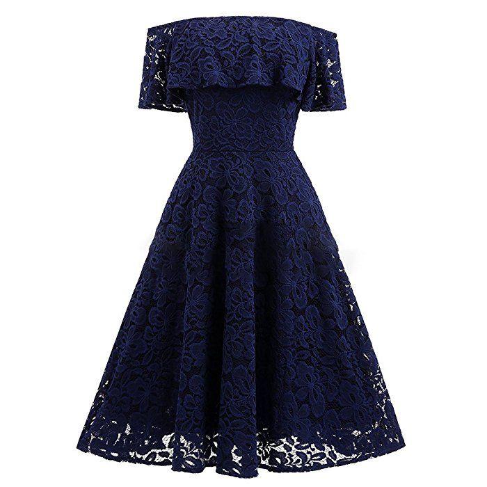 NALATI Damen Spitzenkleid Off-Shoulder Vintage 1950s Partykleid ...