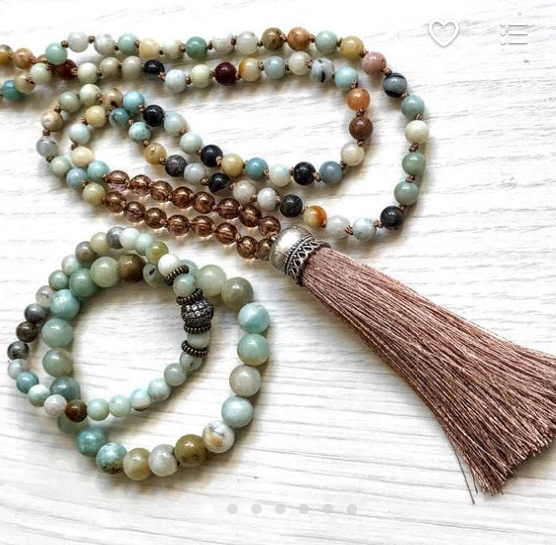 Ooak sets necklace and bracelets mala sets gift for her long