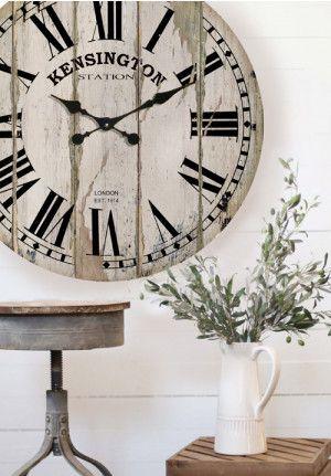 Kensington Clock, Distressed White Clock, Wall Clock   Farmhouse ...