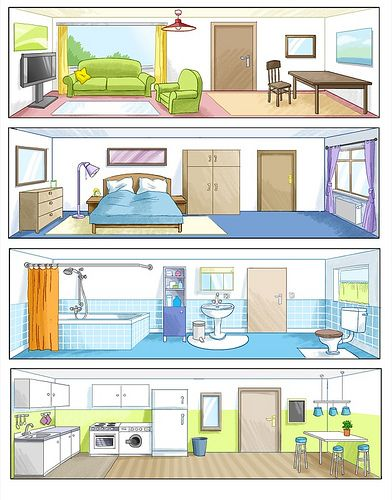 4 Zimmer Partes De La Casa Casa En Ingles Y Casa Espanola
