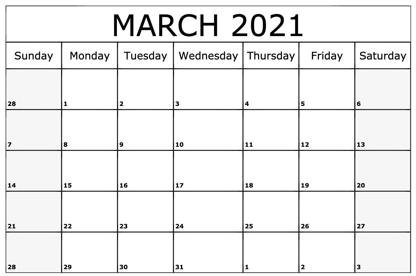 March 2021 Calendar Template Editable With Notes In 2020 Monthly