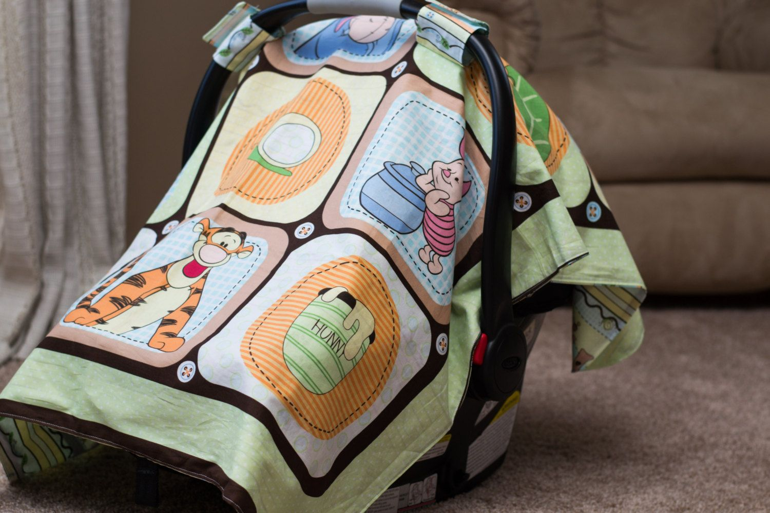 winnie the pooh car seat cover gender neutral car seat cover pooh bear car seat cover winnie. Black Bedroom Furniture Sets. Home Design Ideas