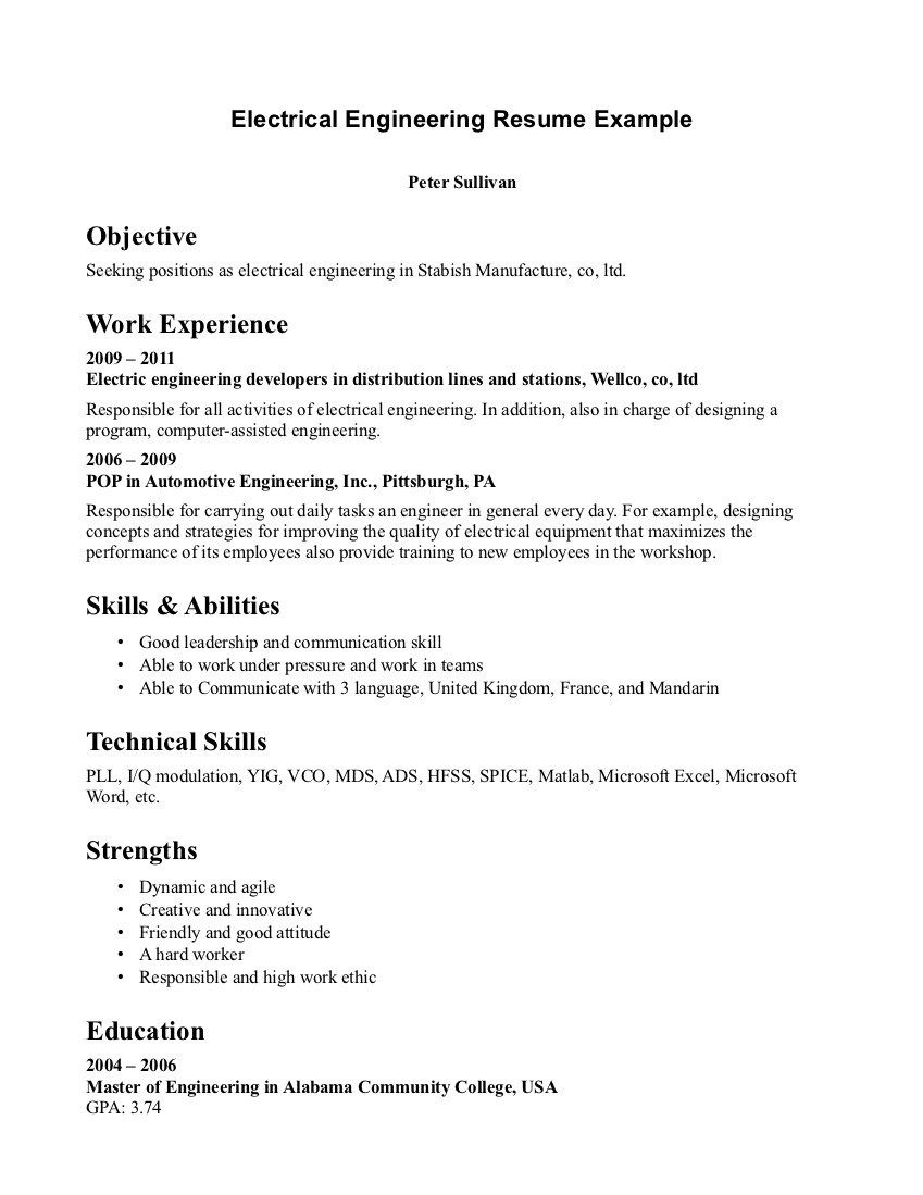 Electrical Engineer Resume Good Work Ethic Resume Best Ideas About Sample Format Skills And