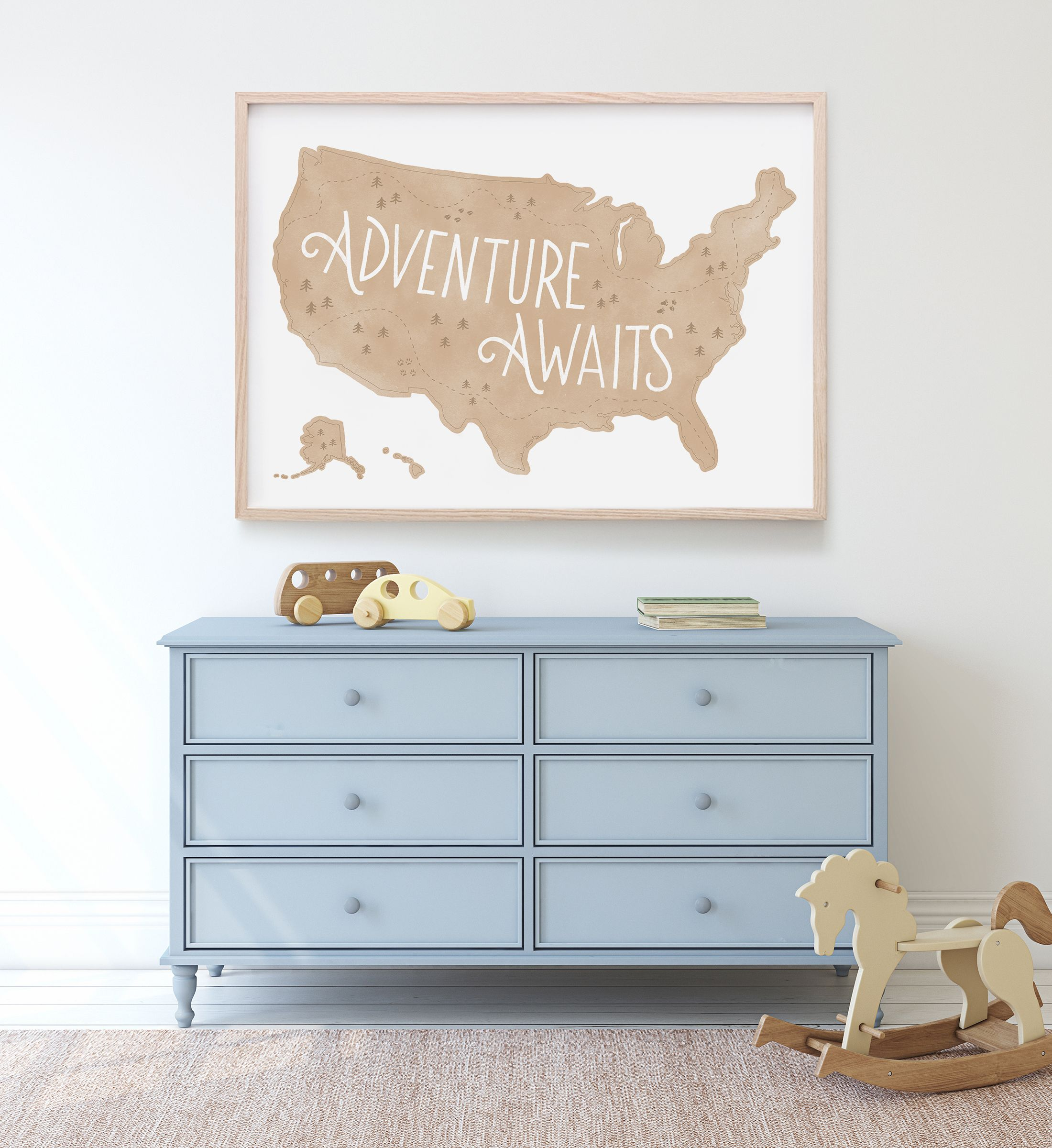 Travel Themed Bedroom For Seasoned Explorers: Neutral US Map Print, Adventure Awaits, Printable Wall Art