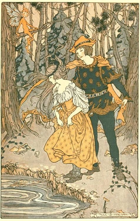 The Green Forest Fairy Book -- Alice B. Preston -- Fairytale Illustration