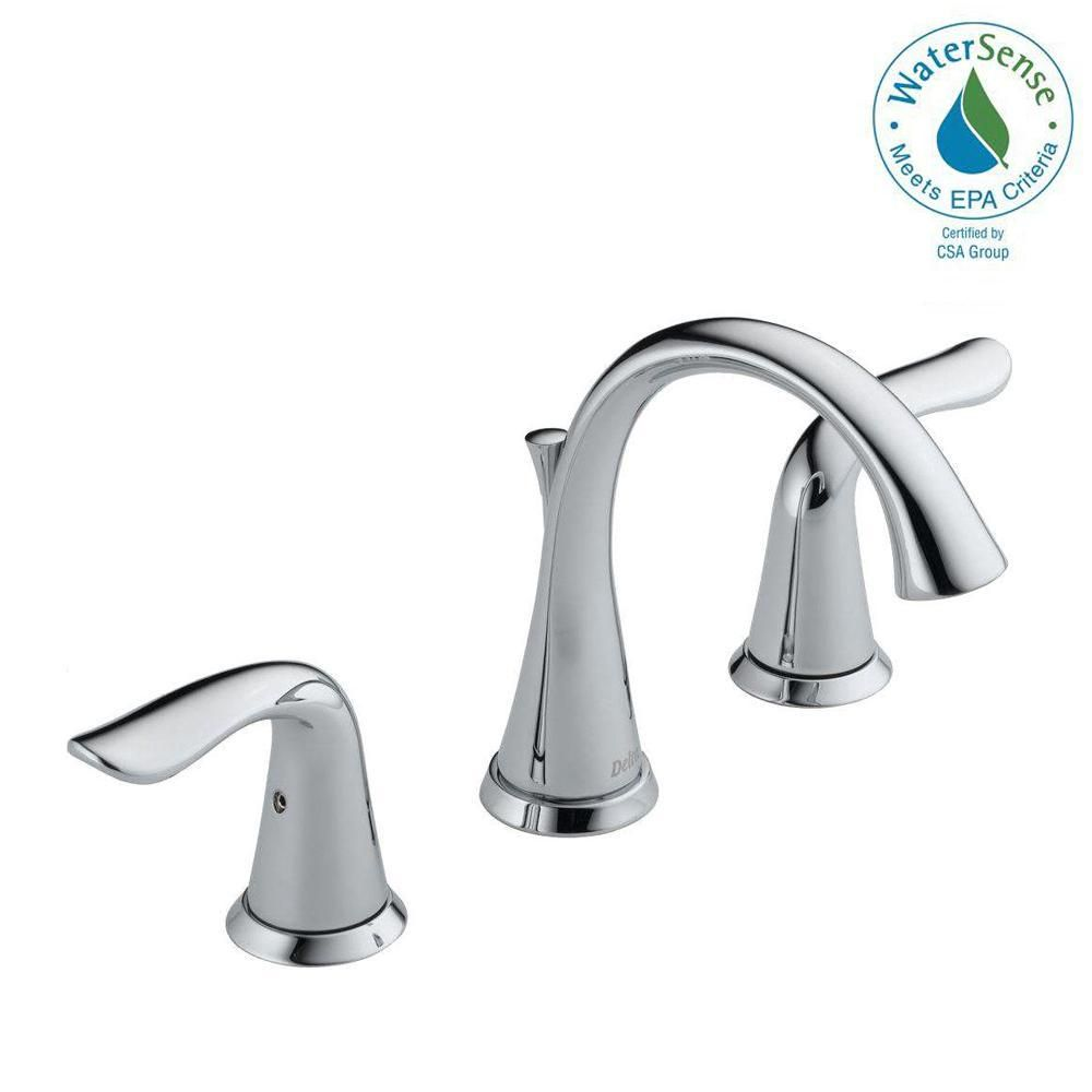 Delta Lahara 8 In Widespread 2 Handle Bathroom Faucet With Metal Drain Assembly In Chrome 3538 Mpu Dst The Home Depot Bathroom Faucets Faucet High Arc Bathroom Faucet