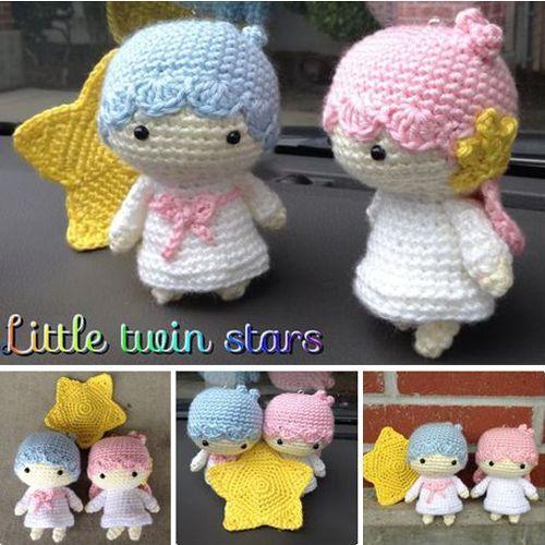Crochet Little Twin Stars - Free Pattern (Beautiful Skills - Crochet ...