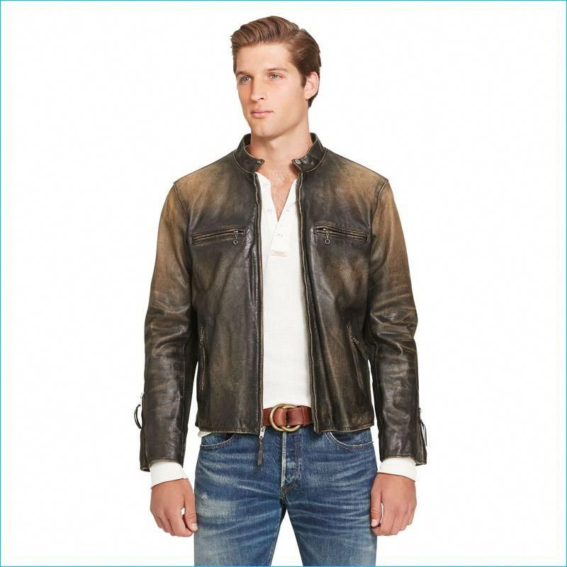 3089832a3 Polo Ralph Lauren Brown Leather Café Racer Jacket  leatherjacketsformenbrown