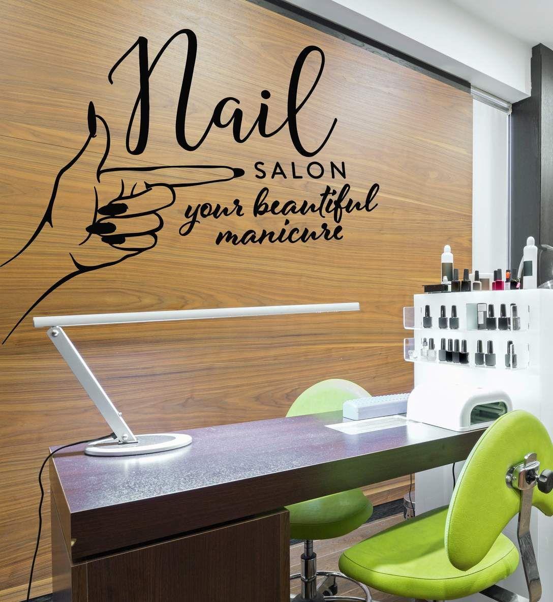 Vinyl Wall Decal Nails Salon Studio Logo Manicure