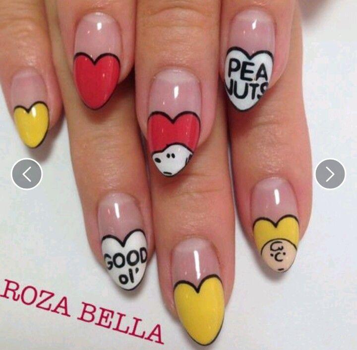 Snoopy nail art. - Snoopy Nail Art. Hearts … Pinteres…